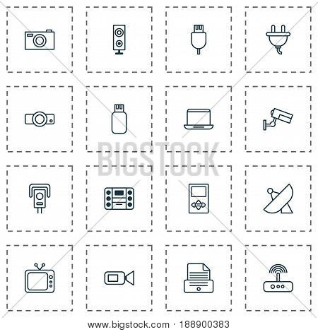 Hardware Icons Set. Collection Of Speaker, Switch, Antenna And Other Elements. Also Includes Symbols Such As Speaker, Boombox, Control.