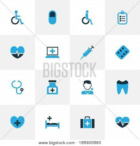 Antibiotic Colorful Icons Set. Collection Of Pill, Cure, Stethoscope And Other Elements. Also Includes Symbols Such As Dental, Stethoscope, Tools.
