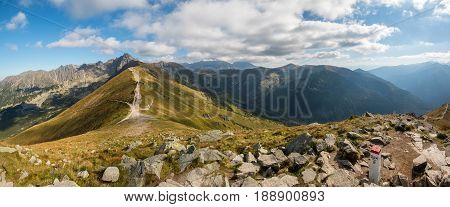 Tatry. Poland and Slovakia boundary autumn landskapes. Big panorama photo