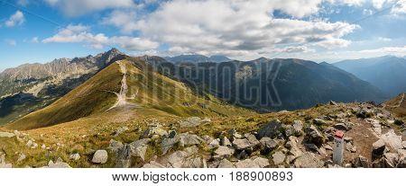 Tatry. Poland and Slovakia boundary autumn landskapes. Big panorama photo