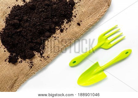gardening equipment with rake and trowel for growing green plants on white desk background top view