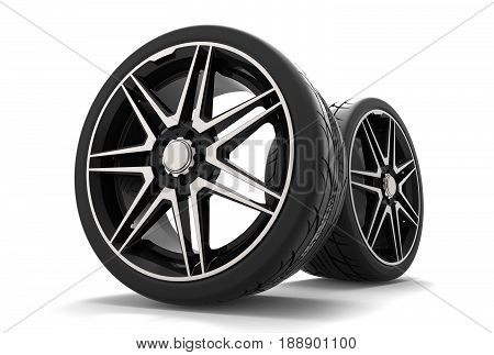 3d illustration of the car rims on white background