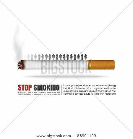 World no tobacco day concept, No Smoking, Stop smoking, Vector