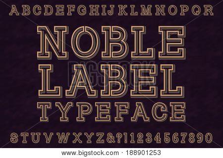 Noble Label Typeface font. Isolated english alphabet.