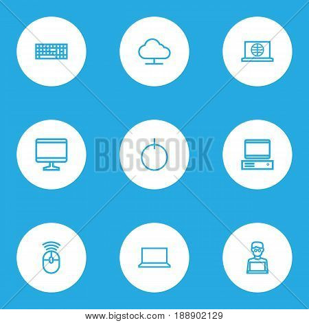 Hardware Outline Icons Set. Collection Of Web, PC, Notebook And Other Elements. Also Includes Symbols Such As Keypad, Screen, Power.