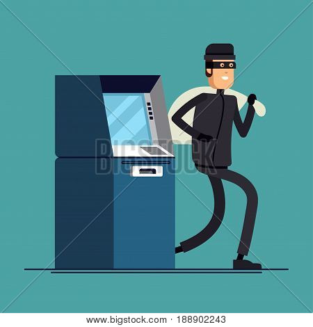 Vector flat illustration thief steals money from ATM, blue cash machines, in black suit, robber in mask. Criminal person