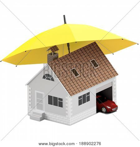 Insurance home house life car protection. Buying house and car for family icon. Protect people Concepts. 3D illustration. Icon for the web site of the bank. House and car under yellow umbrella.