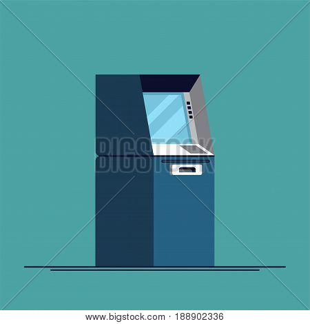Cool modern trendy vector flat concept design on banking and finance with ATM teller cash withdrawal machines
