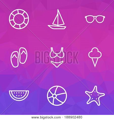 Season Outline Icons Set. Collection Of Ship, Lifesaver, Ice Cream And Other Elements. Also Includes Symbols Such As Candy, Underwear, Ice.
