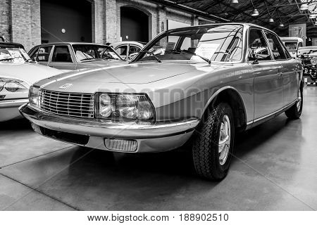 BERLIN - MAY 13 2017: Executive car NSU Ro 80 1967. Black and white. Exhibition