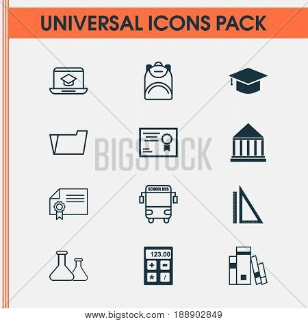 Education Icons Set. Collection Of Distance Learning, Document Case, Haversack And Other Elements. Also Includes Symbols Such As Hat, Building, Document.