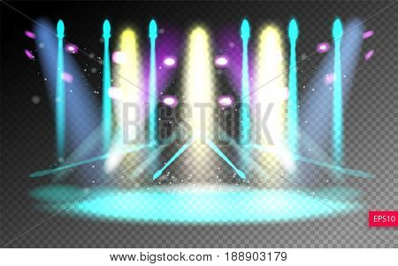 scene illumination show on transparency background, bright lighting with spotlights, floodlight disco vector illustration