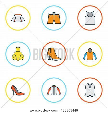 Garment Colorful Outline Icons Set. Collection Of Vest, Shorts, Heels And Other Elements. Also Includes Symbols Such As Vest, Waistcoat, Jacket.