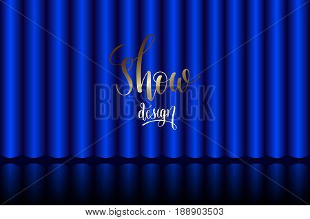 blue curtain on stage in the theater, realistic interior decoration velvet draperies, vector illustration