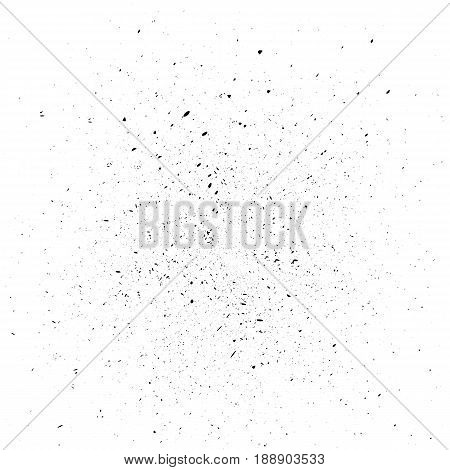 Black dust isolated on white background. Template for projects. Small particles fly and swirl. Vector illustration