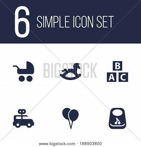 Set Of 6 Child Icons Set.Collection Of Pram, Air Balloon, Breastplate And Other Elements.