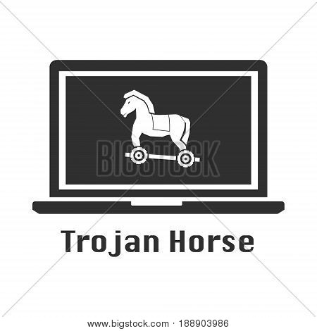 Trojan horse black icon. Vector illustration cyber crime security concept.
