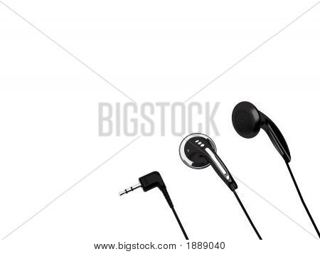 Headphones And Stereo Minijack Isolated On A White Background