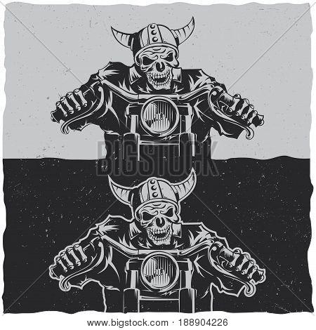 Illustration of skeleton riding on motorbike on dark and light backgrounds