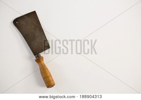 Meat cutting cleaver against white background