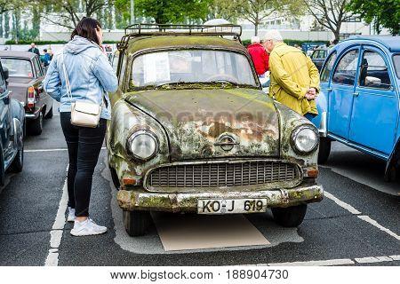 BERLIN - MAY 13 2017: Executive car Opel (Olympia) Rekord Caravan. Exhibition