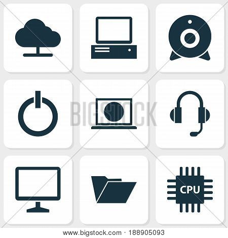 Gadget Icons Set. Collection Of Tree, Broadcast, Desktop And Other Elements. Also Includes Symbols Such As Cloud, Start, Camera.