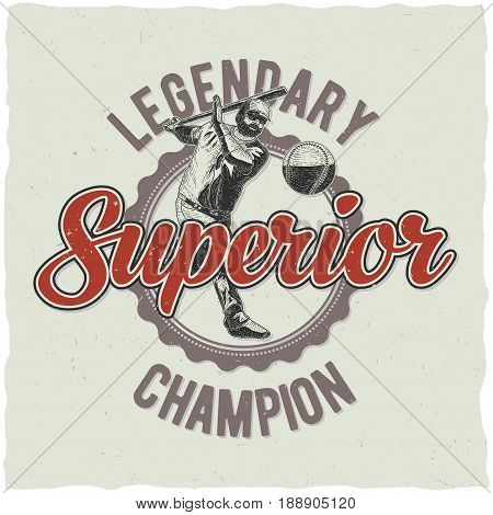 Baseball t-shirt label design with illustration of baseball player