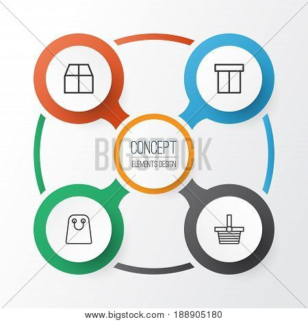E-Commerce Icons Set. Collection Of Cardboard, Tote Bag, Pannier And Other Elements. Also Includes Symbols Such As Cardboard, Packet, Package.