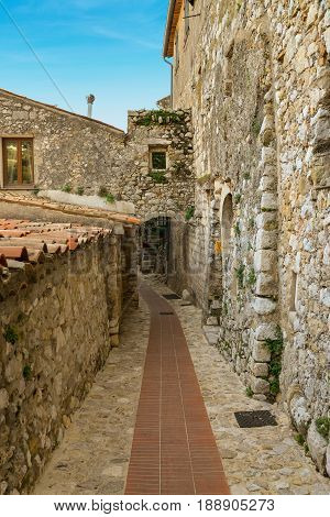 Old buildings and narrow streets in village Eze in Provence France