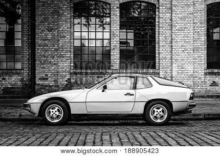 BERLIN - MAY 13 2017: Sports car Porsche 924 Targa 1977. Black and white. Exhibition