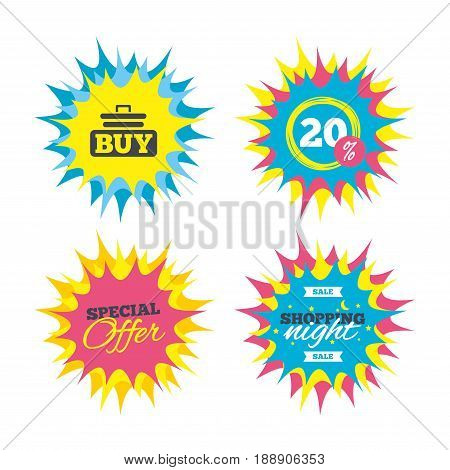 Shopping offers, special offer banners. Buy sign icon. Online buying cart button. Discount star label. Vector