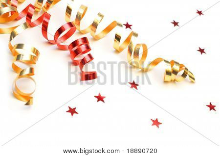 colorful streamer on white background