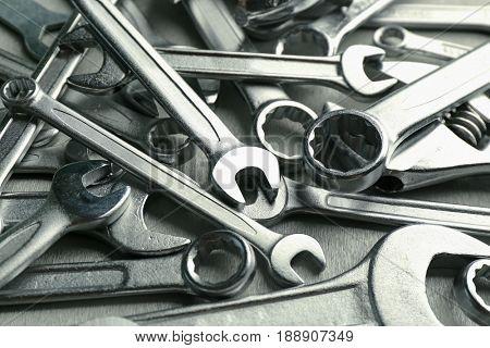 Setting of tools for car repair, closeup