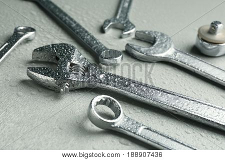 Setting of tools for car repair on light background