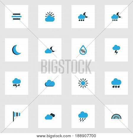 Climate Colorful Icons Set. Collection Of Moonshine, Blizzard, Humidity And Other Elements. Also Includes Symbols Such As Blizzard, Wind, Sun.