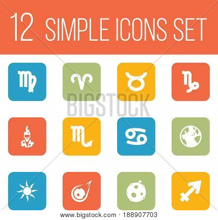Set Of 12 Astronomy Icons Set.Collection Of Earth Planet, Comet, Crab And Other Elements.