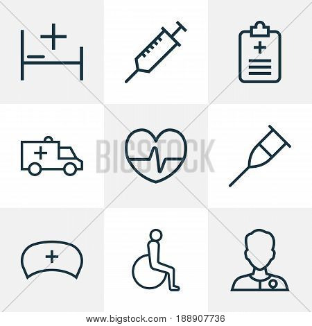Drug Outline Icons Set. Collection Of Heartbeat , Handicapped, Tent Elements. Also Includes Symbols Such As Disabled, Heart, Heartbeat.
