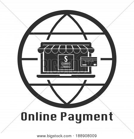 Computer laptop online store with credit card for online payment and online shopping. Vector illustration business technology concept design.