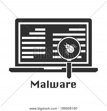 Malware threat black icon. Vector illustration cyber crime securit concept.