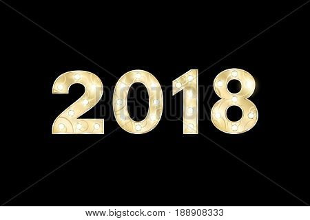 Happy new year 2018 and Christmas. Year of the dog. Gold figures with a pattern for the show. Flashing lamps. Figures for presentation and show. Isolated on a black background. Vector illustration