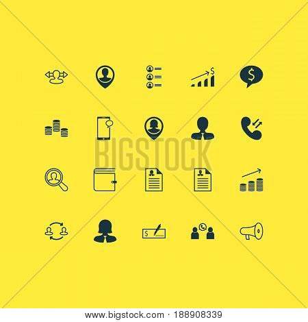 Hr Icons Set. Collection Of Coins Growth, Phone Conference, Job Applicants And Other Elements. Also Includes Symbols Such As Reverse, Speaker, Resume.