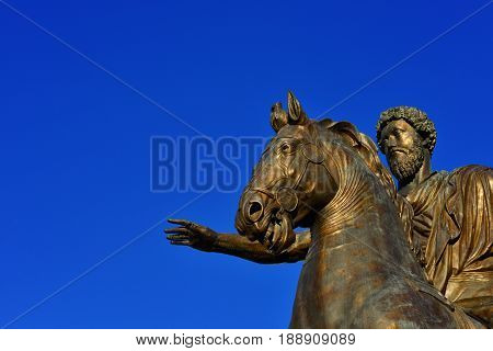 Marcus Aurelius roman emperor bronze equestrian statue at the center of Capitol Hill Square in Rome (with copy space)