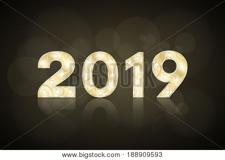 Happy new year 2019 and Christmas. Gold figures with a pattern for the show. Flashing lamps. Mirror reflection. Figures for presentation and show. Glare bokeh. Vector illustration