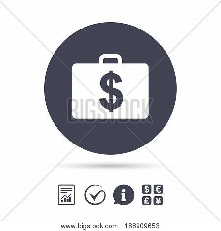 Case with Dollars USD sign icon. Briefcase button. Report document, information and check tick icons. Currency exchange. Vector