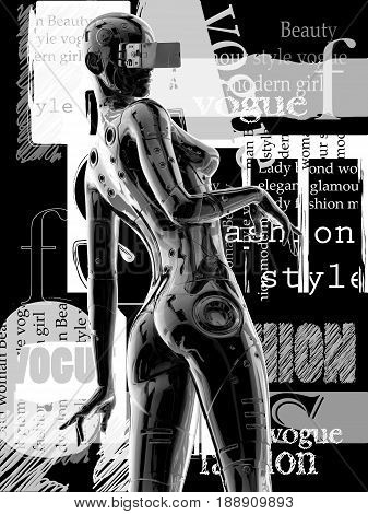 3D illustration. The fashion girl in style the cyberpunk. Futuristic fashion android.
