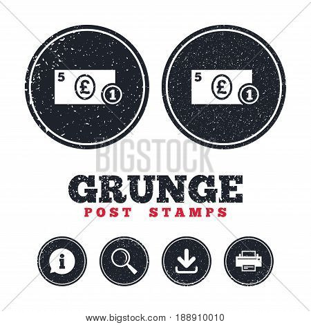 Grunge post stamps. Cash sign icon. Pound Money symbol. GBP Coin and paper money. Information, download and printer signs. Aged texture web buttons. Vector