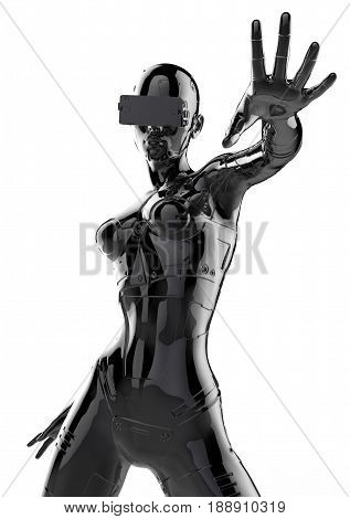 3D illustration. The fashion girl in style cyberpunk. Futuristic fashion android.