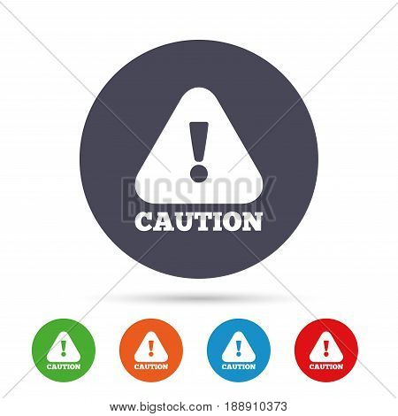 Attention caution sign icon. Exclamation mark. Hazard warning symbol. Round colourful buttons with flat icons. Vector