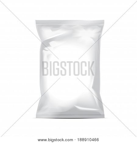 White blank foil bag packaging for food, snack, coffee, cocoa, sweets, crackers, nuts, chips. Vector plastic pack mock up for your design