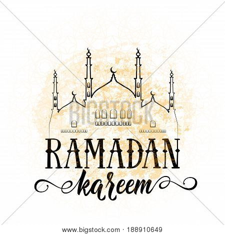 Vector illustration for an Islamic holy holiday of Ramadan. Traditional old-fashioned vintage welcome greeting with text ramadan kareem sign, grunge texture, islam character symbol
